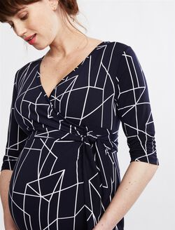 Ripe Geo Print Maternity Wrap Dress, Navy Print