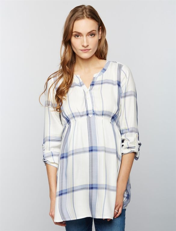 Luxe Essentials Denim Plaid Convertible Maternity Shirt- White/Blue, Citrine Plaid