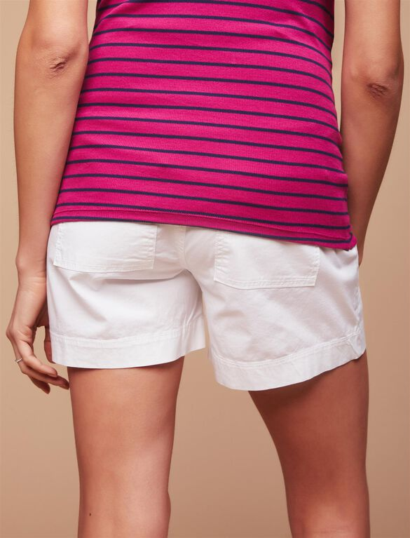 Secret Fit Belly Poplin Maternity Shorts, White