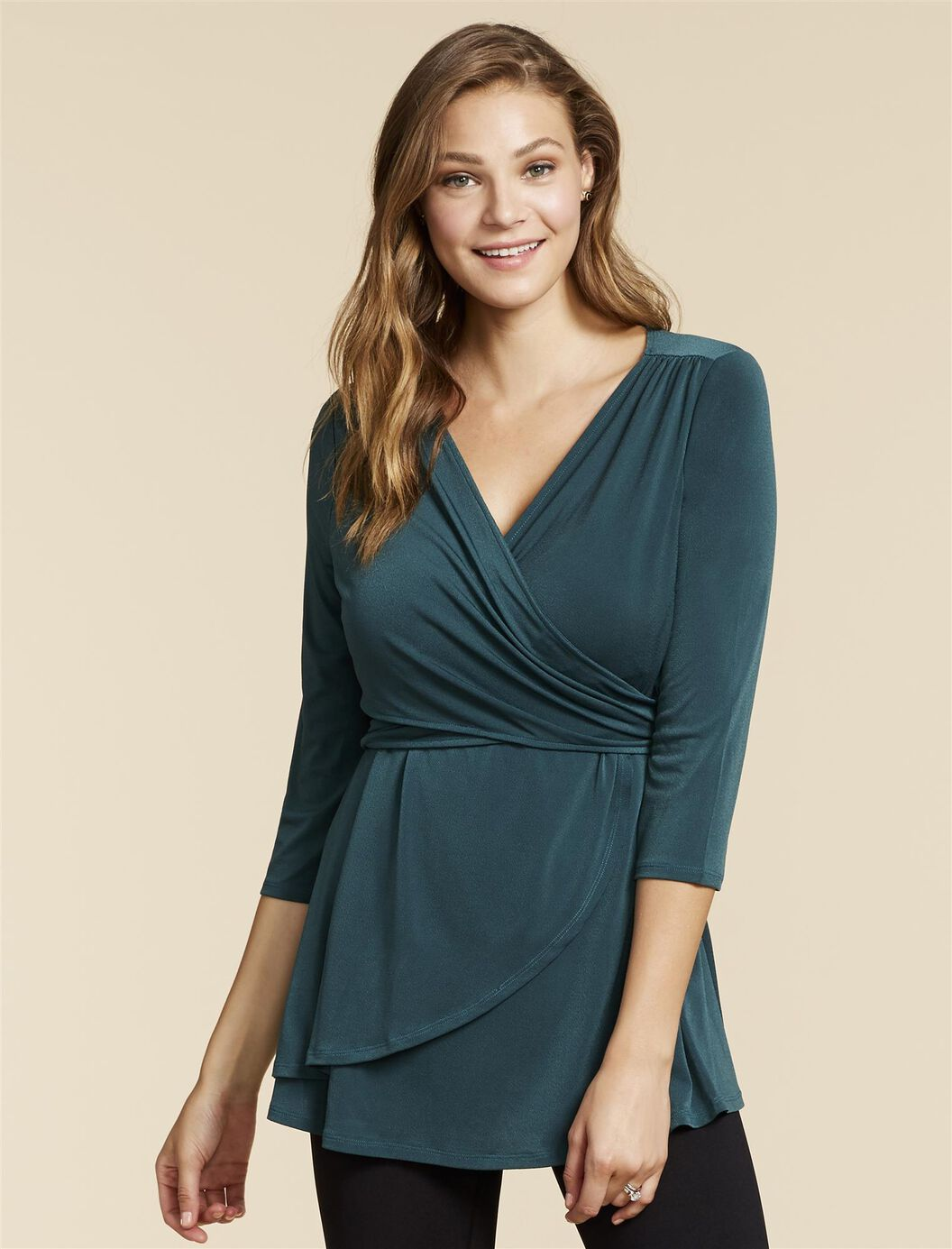 Web Only Jessica Simpson Pull Over Wrap Nursing Blouse at Motherhood Maternity in Victor, NY | Tuggl