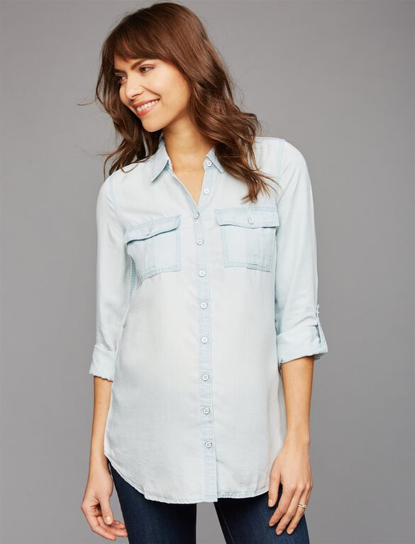 Luxe Essentials Denim Chambray Button Front Maternity Shirt, Light Wash