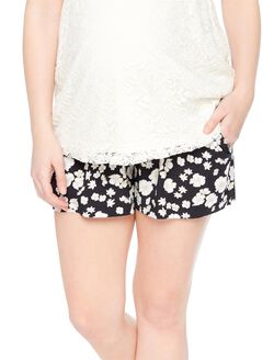 Secret Fit Belly Floral Maternity Shorts, Black/White Floral