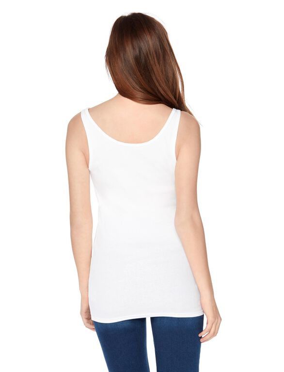 Rib Knit Maternity Tank Top, White