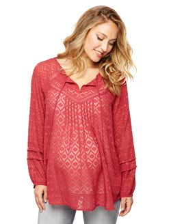 Tie Detail Maternity Blouse, Antique Red