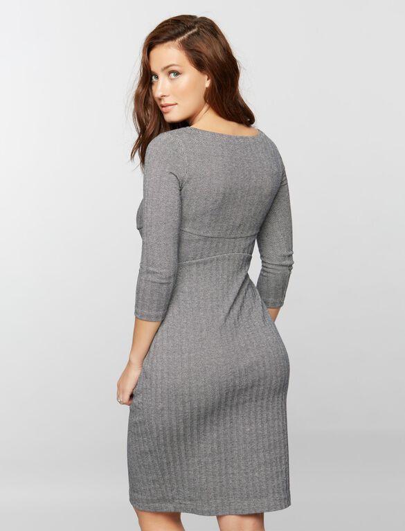 Isabella Oliver Shirring Detail Maternity Dress, Navy/Grey