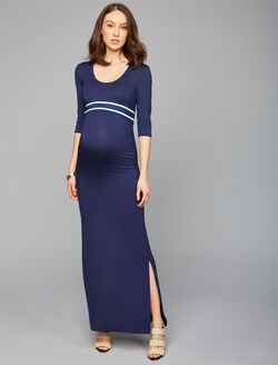 Web Only Madderson Pleated Maternity Maxi Dress, Navy