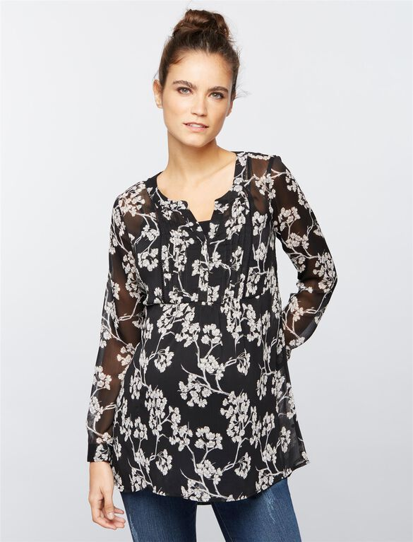 Printed Chiffon Maternity Tunic- Floral, Floral