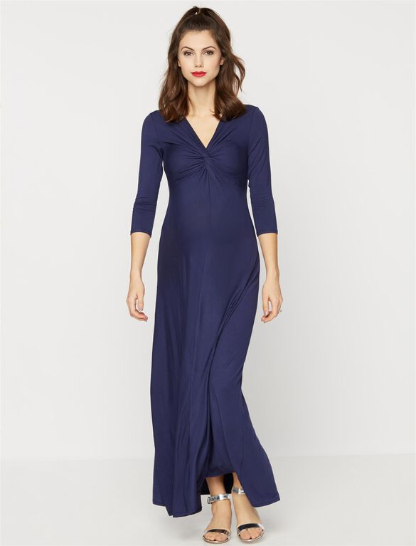 Knot Front Knit Maternity Maxi Dress, Navy