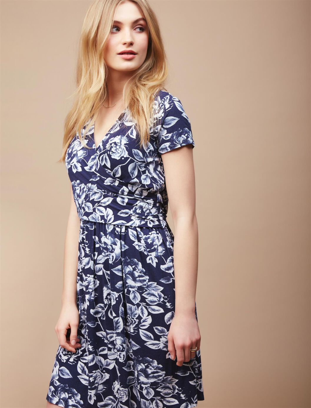Faux Wrap Nursing Dress- Floral at Motherhood Maternity in Victor, NY | Tuggl