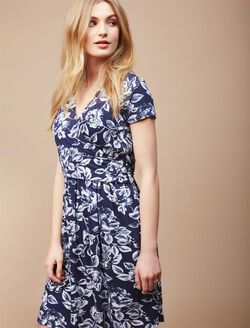 Faux Wrap Nursing Dress- Floral, Navy/Egret Floral