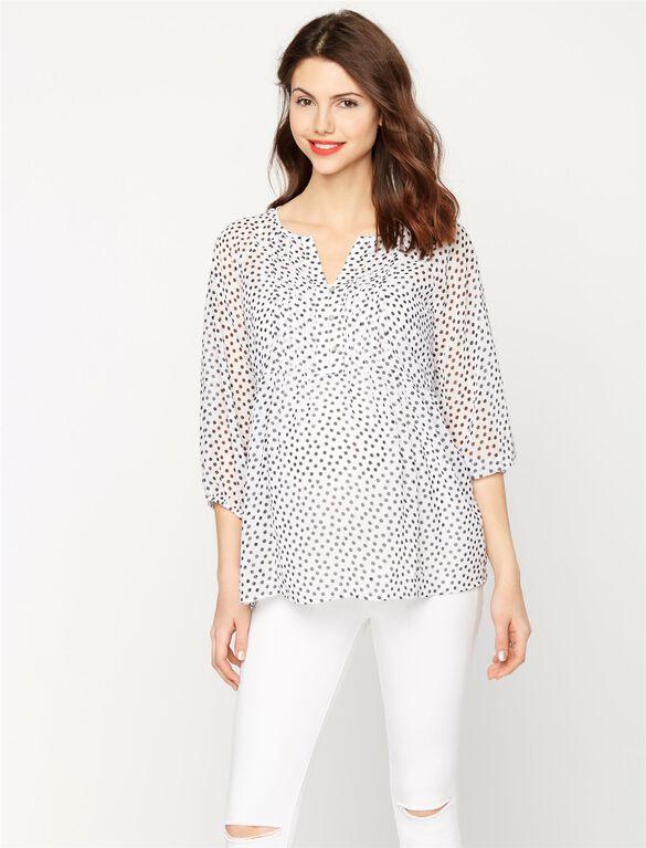 Button Detail Maternity Blouse, Black/White Dot