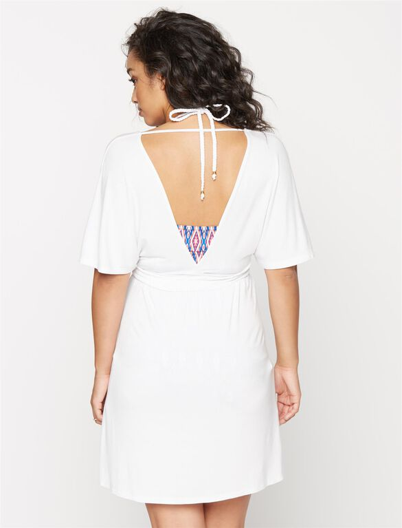 Shirring Detail Maternity Swim Cover-up, White
