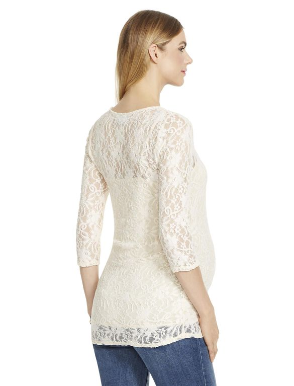 Jessica Simpson Lace Maternity Shirt, White Swan