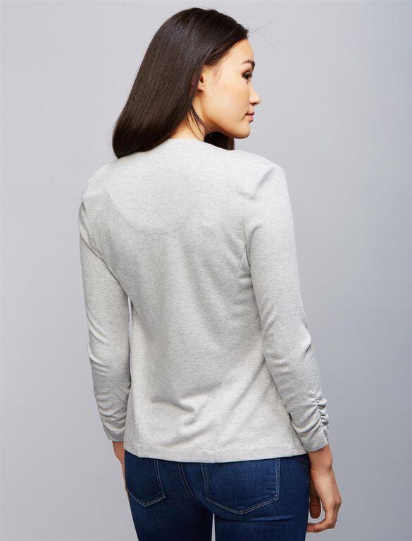 Tart Open Front Maternity Jacket, Grey Stripe