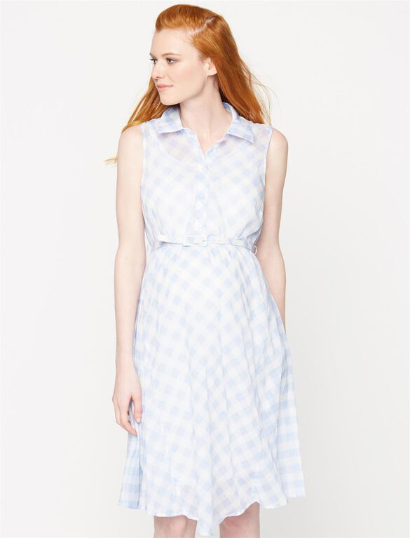 Seraphine Belted Maternity Dress, Blue Print