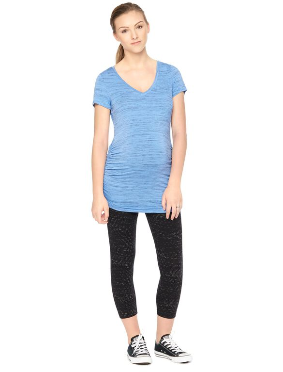 Spacedye Side Ruched Maternity Tee- Blue, Blue Spacedye