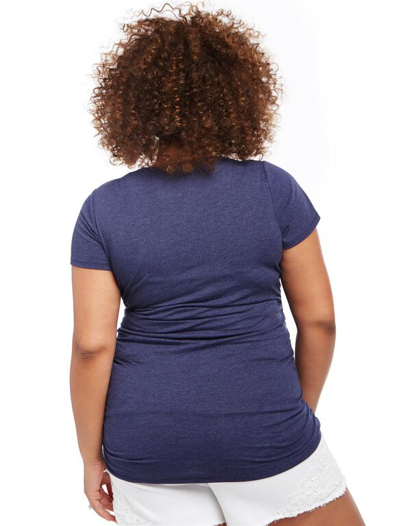 Plus Size About to be Born in The USA Maternity Tee, Navy