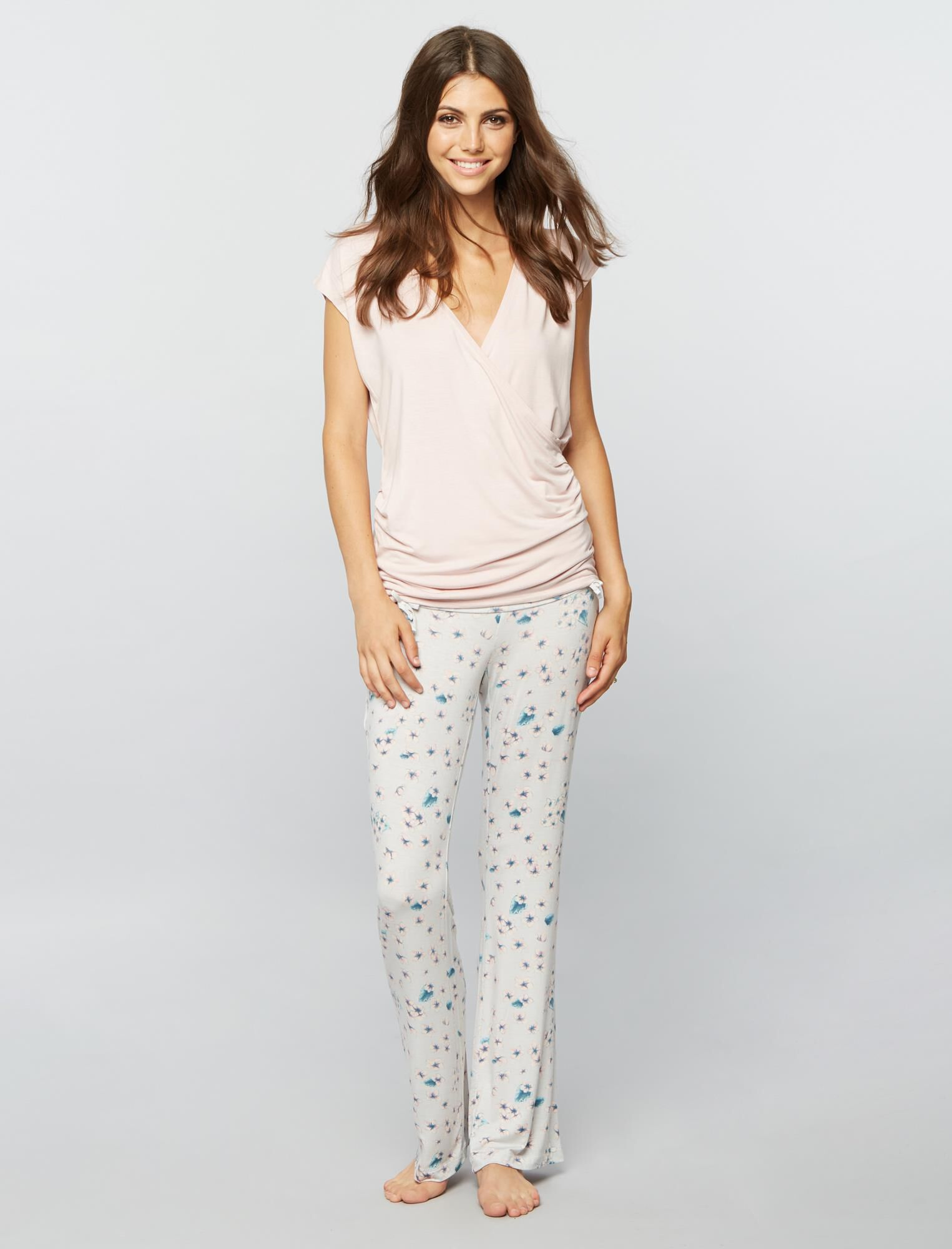 Bow Detail Maternity Sleep Pants- Prints