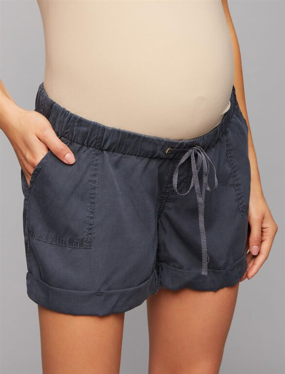 Under Belly Relaxed Fit Maternity Shorts, Smoked Pearl