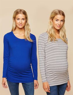 Bumpstart Long Sleeve Maternity T-shirt (2 Pack), Cobalt Grey/White Stripe