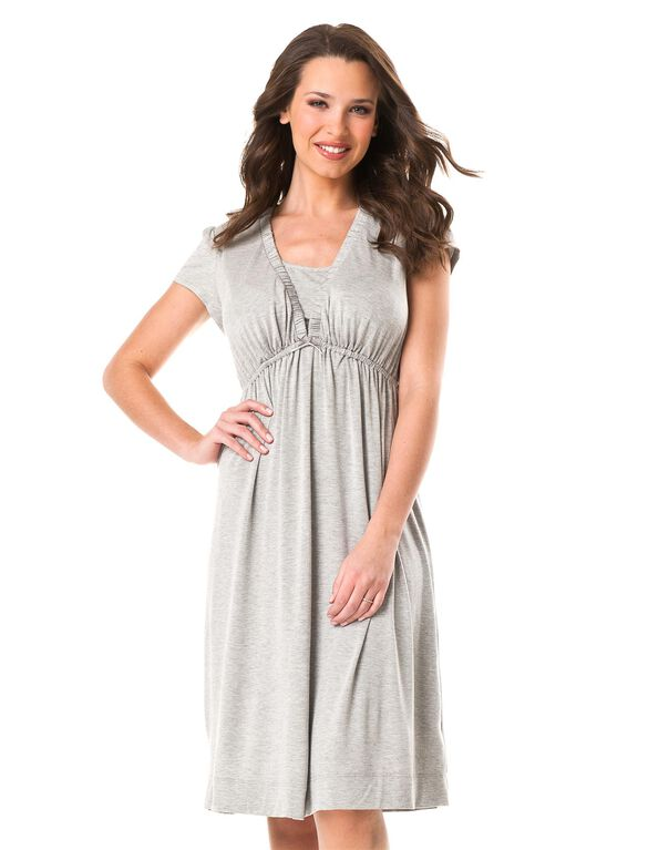 Babydoll Nursing Nightgown, Heather Grey