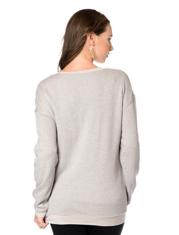 Embellished Maternity Sweatshirt, Heather Grey