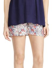 Jessica Simpson Smock Waist Maternity Shorts, Red White Blue Floral