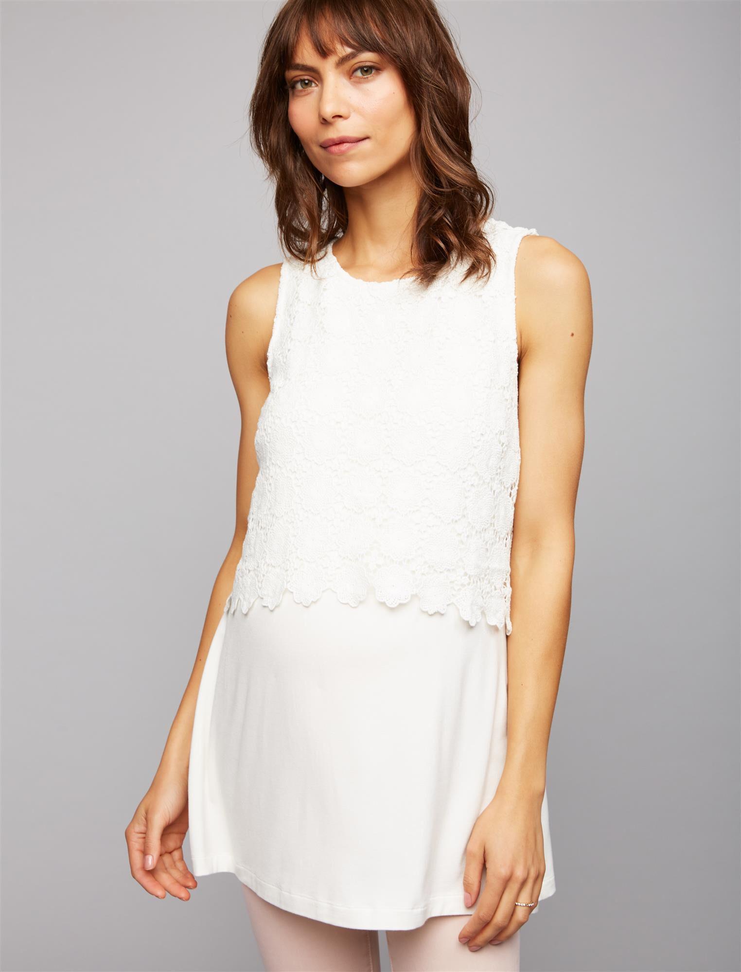Luxe Essentials Denim Crochet Maternity Tank Top