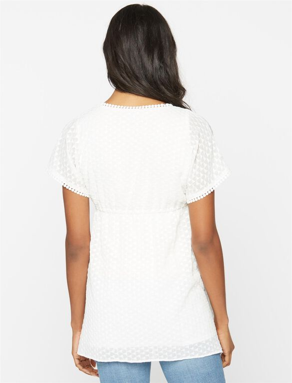 Embroidered Empire Waist Maternity Tunic, White