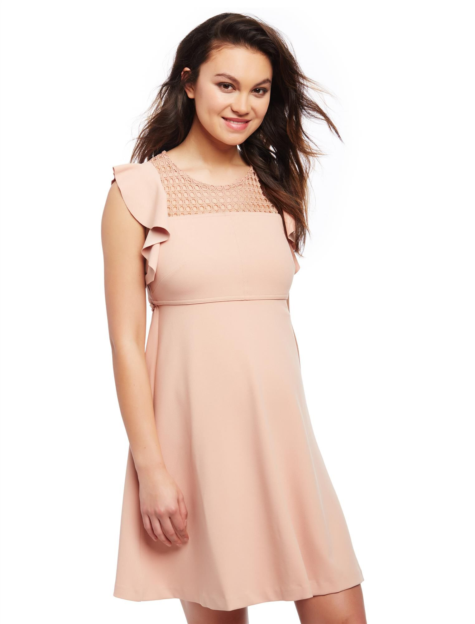 Eyelet Flutter Sleeve Maternity Dress