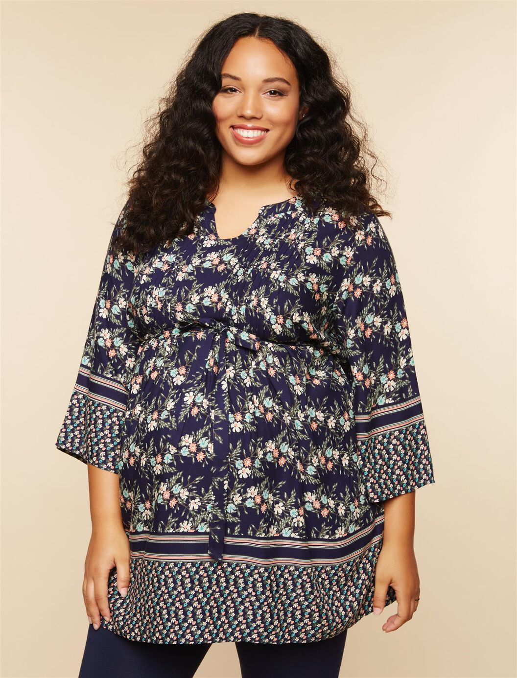 Plus Size Removable Waist Tie Maternity Tunic at Motherhood Maternity in Victor, NY | Tuggl
