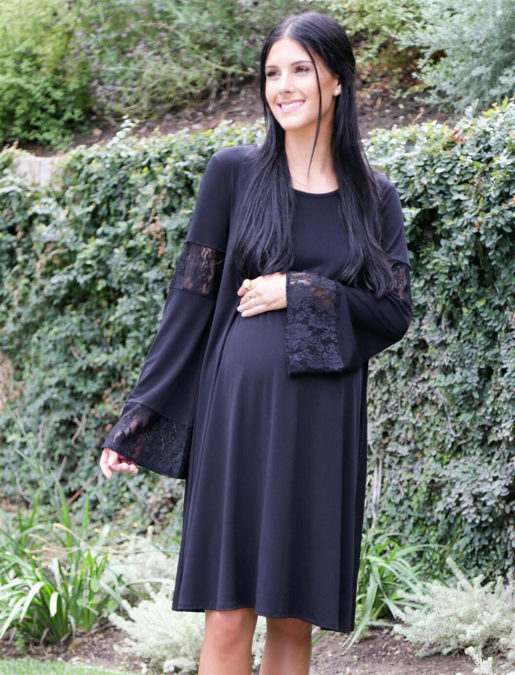 Wendy bellissimo lace bell sleeve maternity dress motherhood wendy bellissimo lace bell sleeve maternity dress black ombrellifo Images