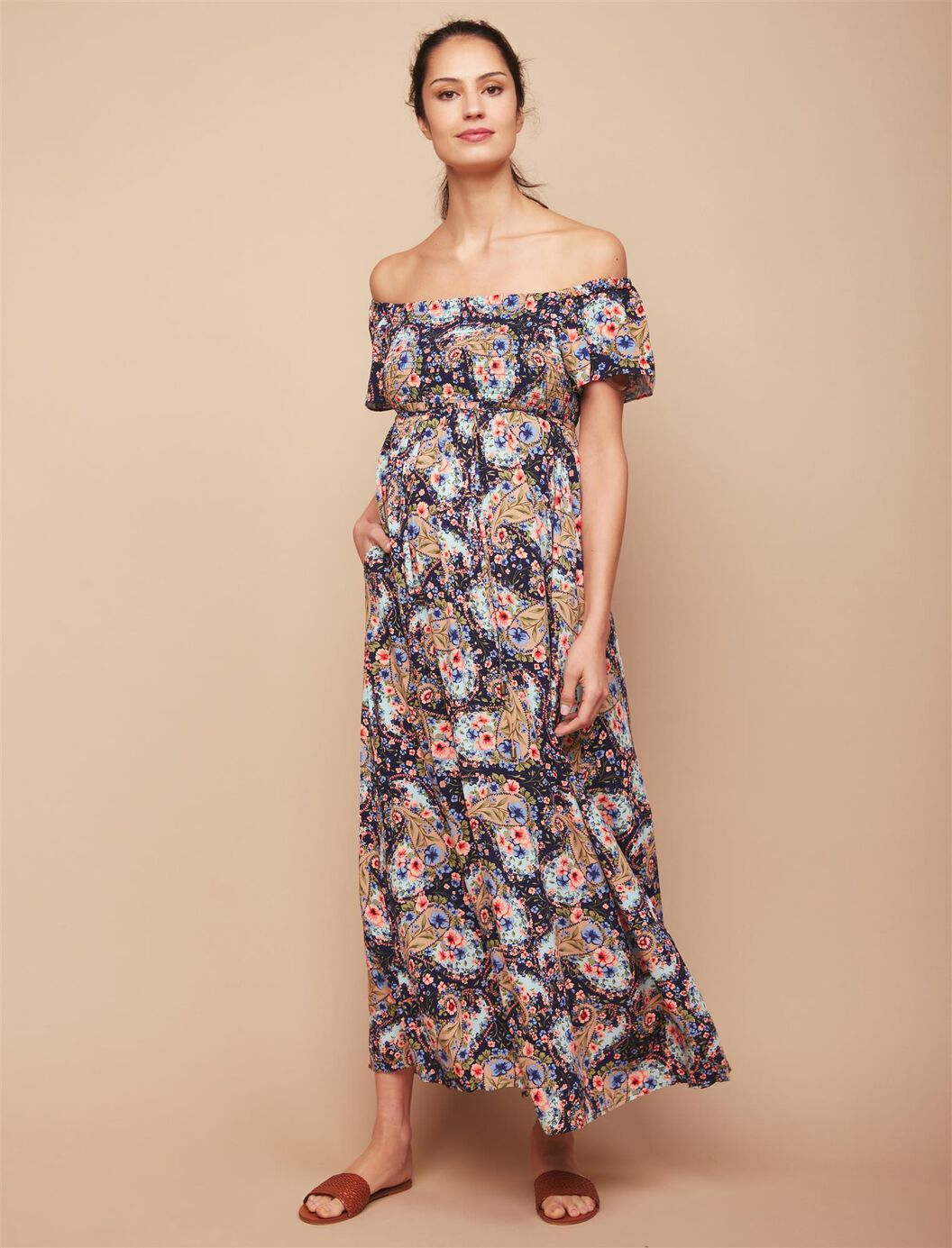 Jessica simpson floral bodycon maternity dress motherhood jessica simpson smocked maternity maxi dress at motherhood maternity in frisco tx tuggl ombrellifo Gallery