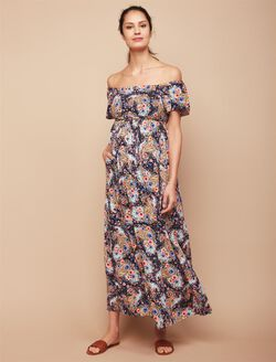 Jessica Simpson Smocked Maternity Maxi Dress, Floral Print
