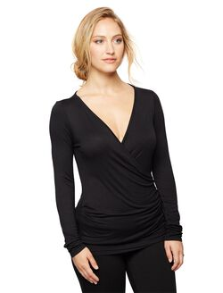 Faux Wrap Long Sleeve Nursing Sleep Top- Black, Black