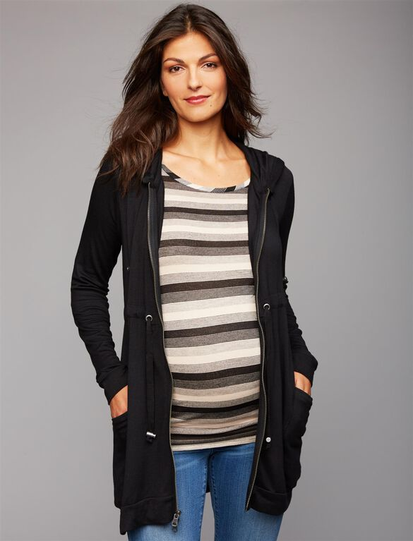 Zip Front Maternity Cardigan, Black