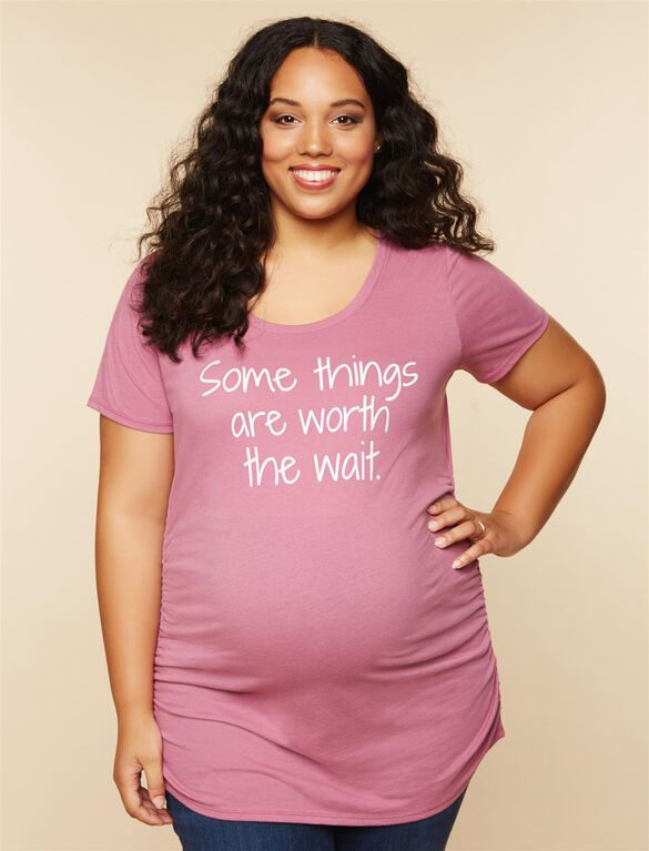 Plus Size Ruched Maternity T Shirt, Pink