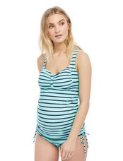 Teal/Navy Stripe Cross Back Maternity Tankini Swimsuit, Teal/Navy Stripe
