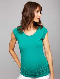 Boat Neck Maternity Tee, Shady Glade
