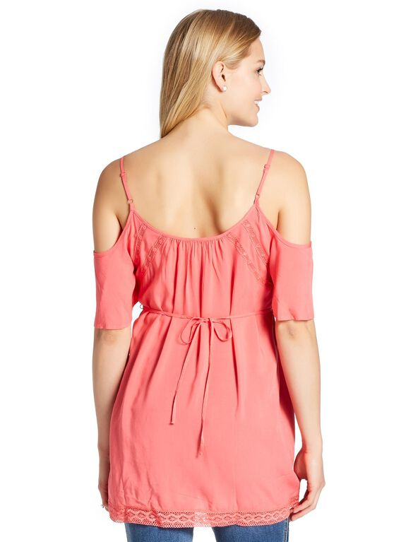 Jessica Simpson Lace Maternity Blouse, Calypso Coral
