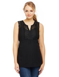 Lace Eyelet Maternity Tank, Core Black
