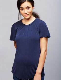 Flutter Sleeve Tie Detail Maternity Top, Navy