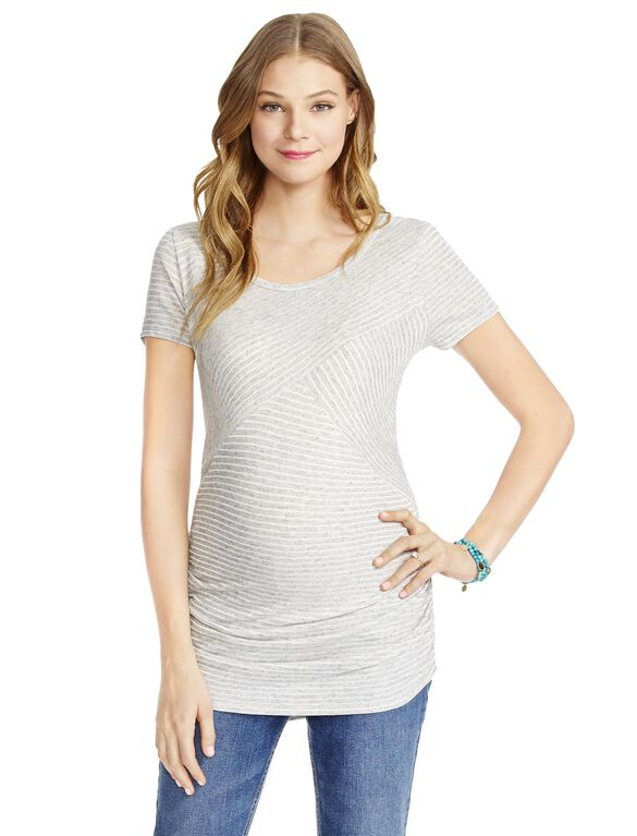Jessica Simpson Striped Maternity Top, Grey