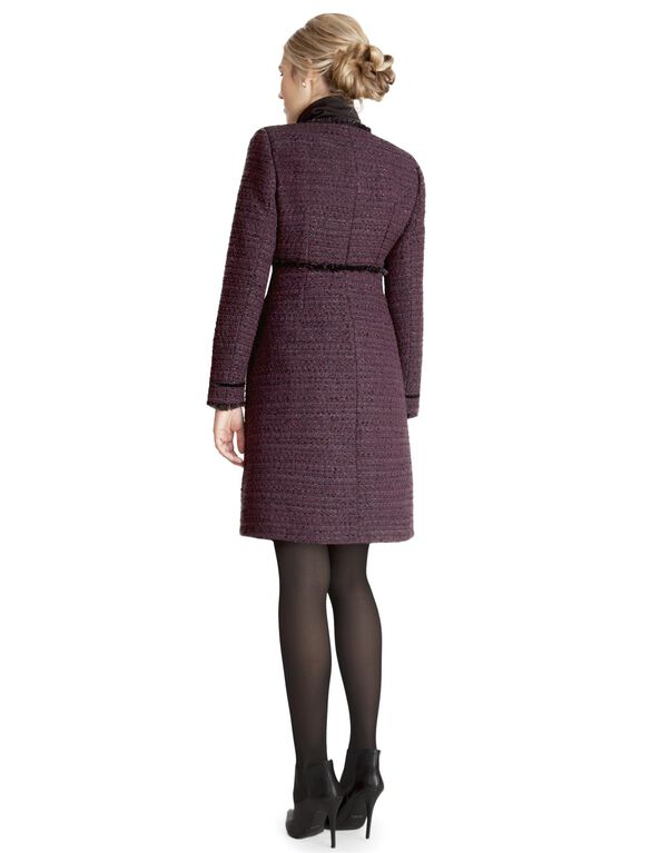 Button Front Wool Maternity Jacket, Purple