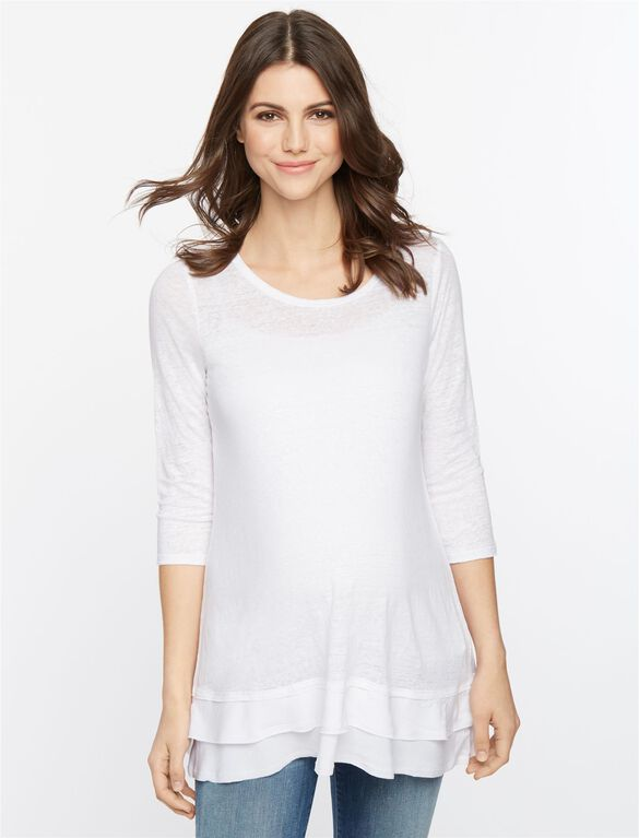 Knit Woven 3/4 Sleeve Maternity Top, White