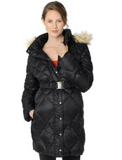 Quilted Hooded Maternity Puffer Coat, Black
