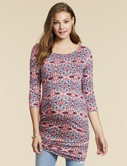 Jessica Simpson Side Tie Maternity Shirt- Print, Geo Print