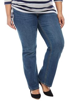 Jessica Simpson Plus Size Secret Fit Belly Boot Cut Maternity Jeans, Medium Wash