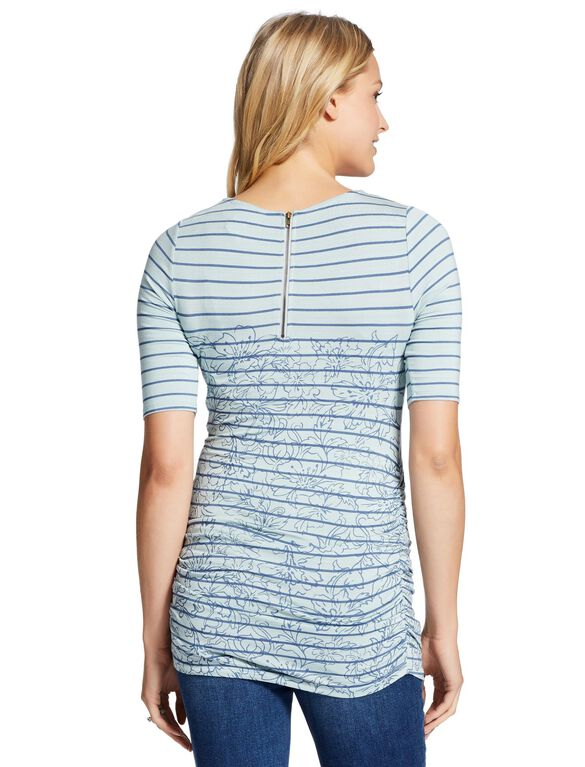 Jessica Simpson Striped Floral Print Maternity Shirt, Blue Stripe