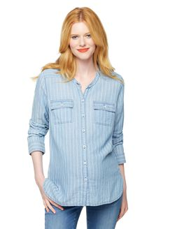Splendid Striped Chambray Maternity Shirt, Light Wash
